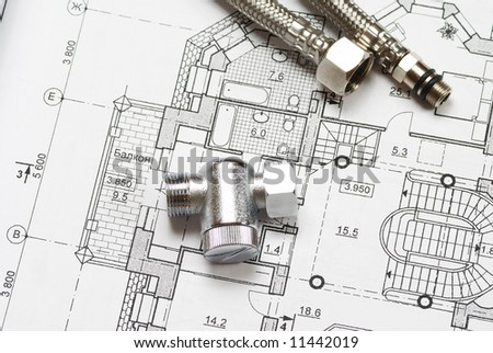 Pipes over house plan blueprints