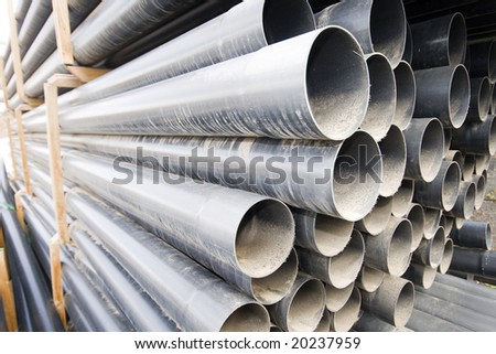 Pipes polymeric water round section - stock photo
