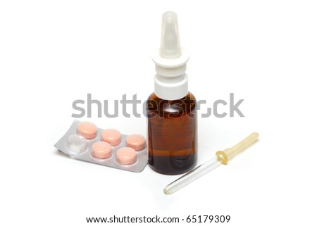 pipette, bottle with nose spray and vitamins isolated on a white background - stock photo