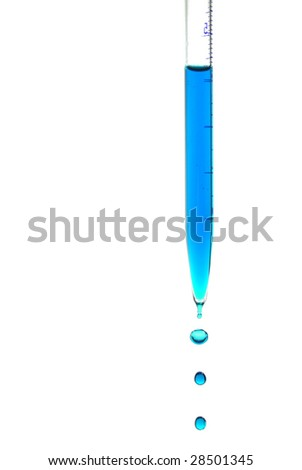 Pipette with falling drops of blue liquid isolated on white - stock photo