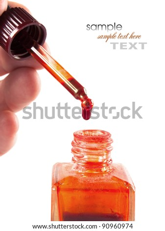 pipette with ink isolated on white background