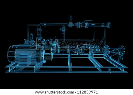 Piping (3D xray blue transparent) - stock photo