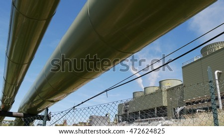 piping of a geothermal power plant, Monterotondo, Tuscany, Italy.