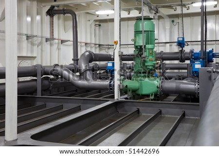 Piping system and electric pump. - stock photo