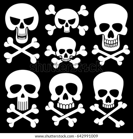 vector skull crossbones on white black stock vector