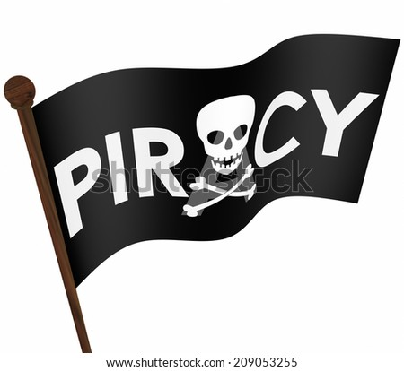 Piracy word and skull and crossbones on a black flag illegal file sharing on internet torrent websites - stock photo