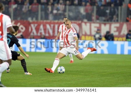 Piraeus, Greece Dec. 09, 2015. Pajtim Kasami player of of Olympiacos FC during the UEFA Champions League between Olympiacos FC and Arsenal at Karaiskakis Stadium . - stock photo