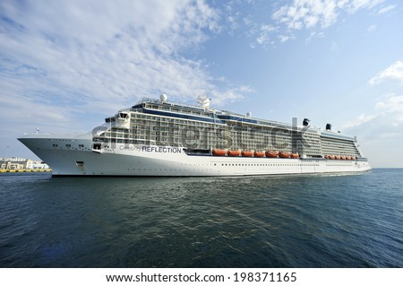 PIRAEUS, GREECE -June 11, 2014. Celebrity Reflection is a cruise ship owned and operated by Celebrity Cruises. Ship was built in 2012 with length 319 m and has capacity of 3046 passengers.
