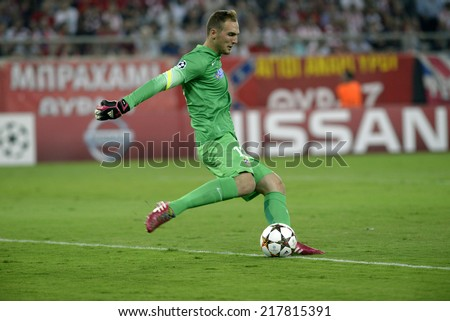 Piraeus,Greece Sept 16, 2014. Atletico's goalkeeper Jan Oblak during the Champions League Group A soccer match against Olympiacos at Georgios Karaiskakis Stadium in the port of Piraeus near Athens. - stock photo