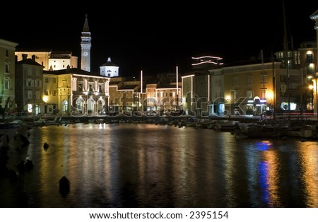 piran city at night for christmas in slovenia