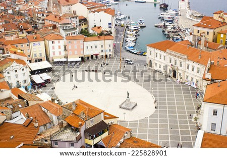 PIRAN, SLOVENIA - 1 OCTOBER 2014: aerial view of Tartini Square. Piran is a city resort in the west of Slovenia. - stock photo