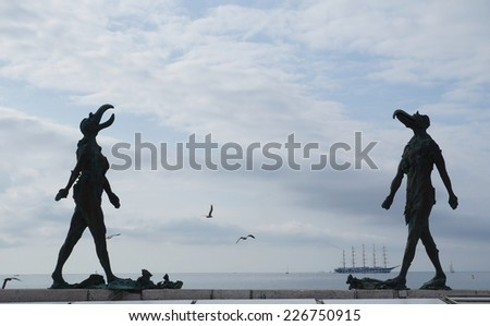 PIRAN, SLOVENIA - OCTOBER 10 - Sculpture She and He on October 10, 2014 in Piran, Slovenia