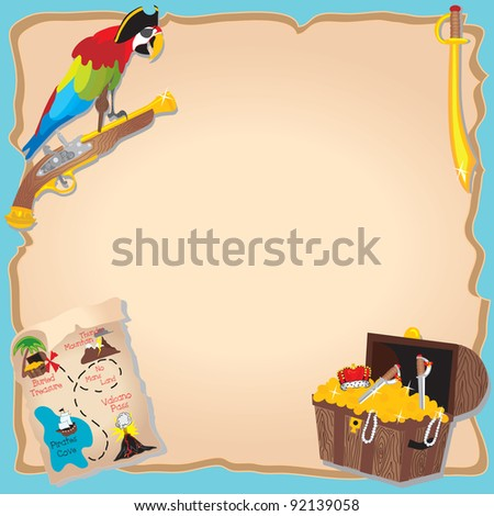 Pirate Birthday Party  and treasure hunt Invitation with peg legged parrot, map and chest - stock photo