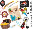 Pirate Birthday Party Clip art elements, isolated on white - stock photo