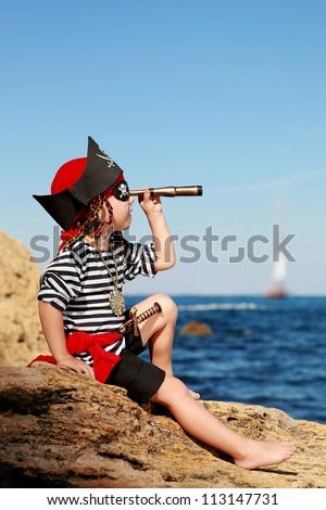 pirate boy - stock photo
