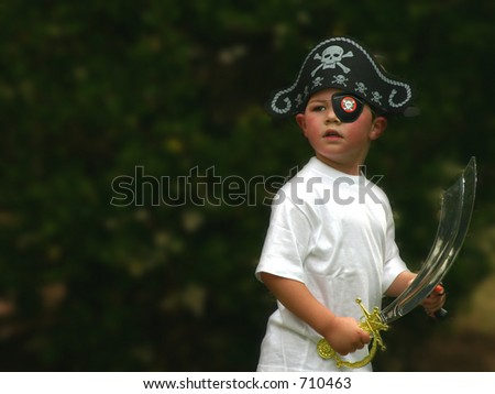 Pirate boy at party - stock photo