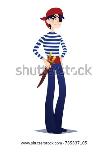 Pirate boy with dagger. Cute young man in style of Sea Corsair in red bandana and belt with weapon going for Costume party. Illustration in cartoon style on white background. Buccaneer.