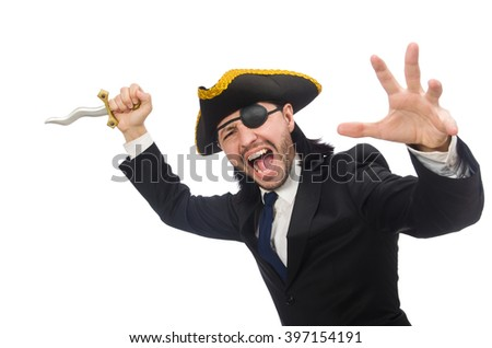 Pirate businessman with sabre isolated on white - stock photo