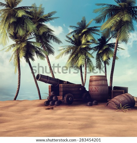 Pirate cannon and barrels on a beach with palm trees
