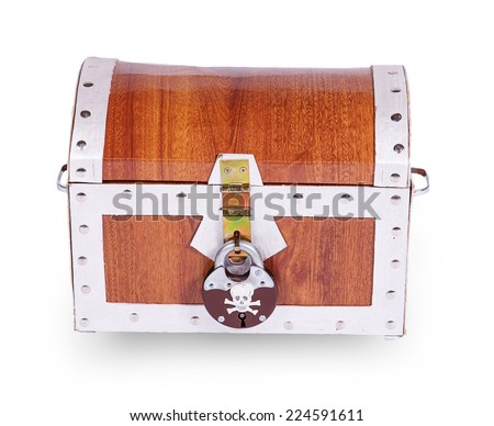 Pirate chest isolated on white background - stock photo