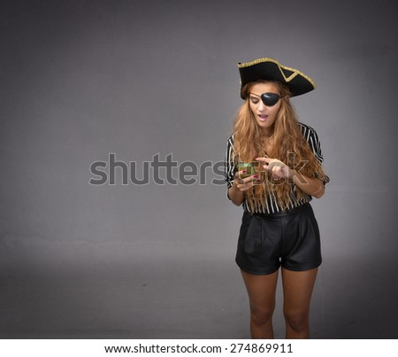pirate communication with smartphone, dark background - stock photo