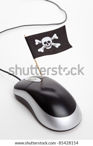 Pirate Flag and Computer Mouse, concept of Computer Hacker