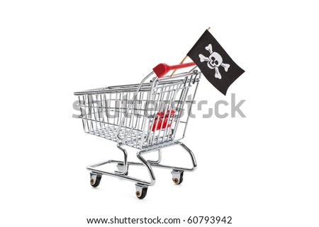 Pirate Flag and Shopping cart, concept of business crime