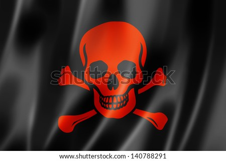 Pirate flag, Jolly Roger, three dimensional render, satin texture - stock photo