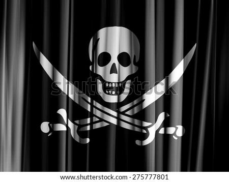 Pirate flag of fabric, texture - stock photo