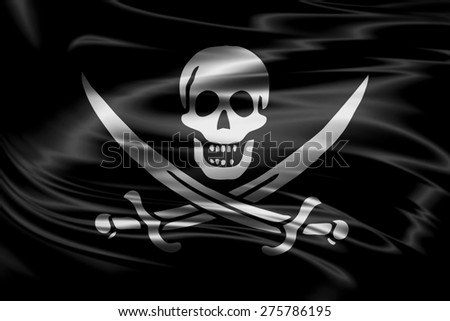Pirate flag of silk texture - stock photo
