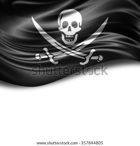 Pirate flag of silk with copyspace for your text or images and White background