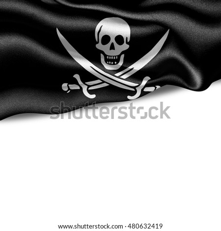 Pirate flag of silk with copyspace for your text or images and White background-3D illustration