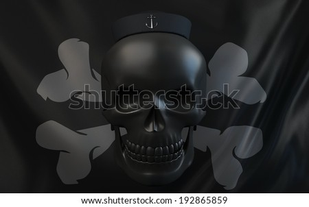 Pirate flag with black skull and sailor hat with black steel anchor