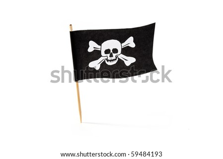 Pirate Flag with white background - stock photo