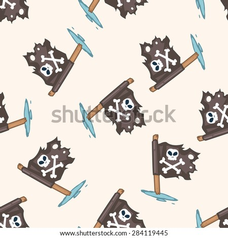 pirate flags , cartoon seamless pattern background
