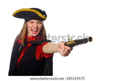 Pirate girl holding bag isolated on white - stock photo