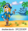 Pirate girl on beach 3 - color illustration. - stock vector