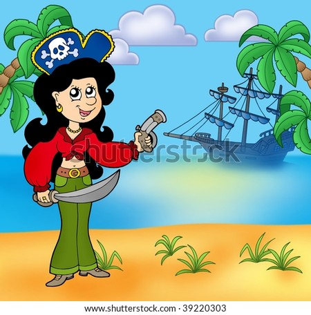 Pirate girl on beach 1 - color illustration. - stock photo