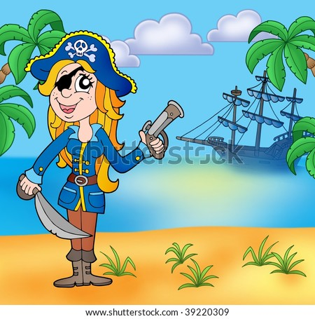 Pirate girl on beach 3 - color illustration. - stock photo