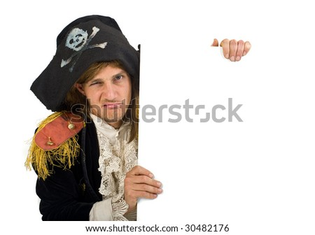 pirate holding a blank sign over white - stock photo