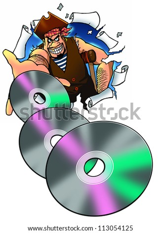 pirate holding illegal copies of DVD - stock photo