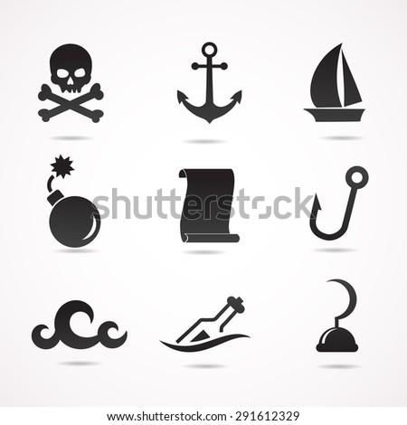 Pirate icon set.  - stock photo