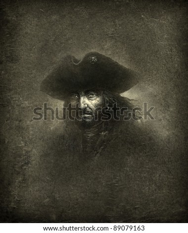 Pirate, ink on paper & processing. - stock photo
