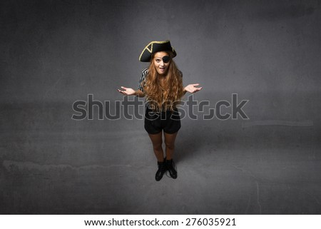 pirate innocent face, open arms - stock photo