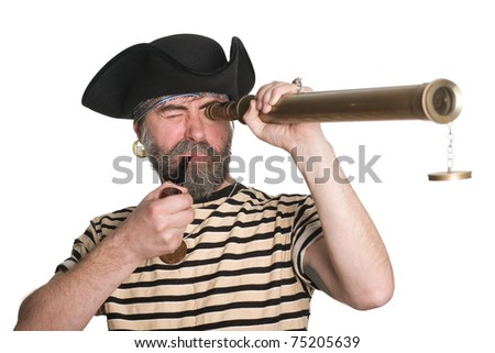 Pirate looks a telescope and smokes a pipe. - stock photo