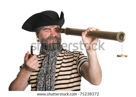 Pirate looks through a telescope and smokes a pipe. - stock photo