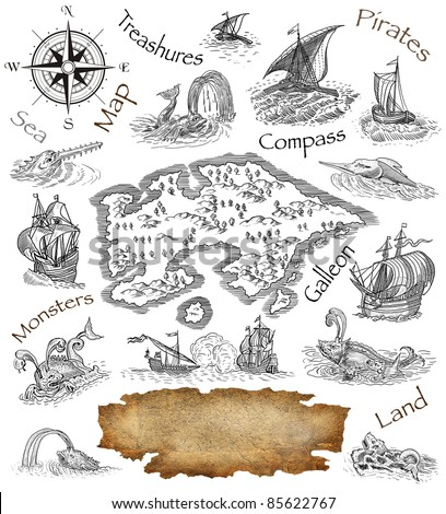 Pirate map - stock photo
