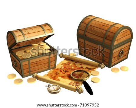 Pirate map. A way to treasure - stock photo