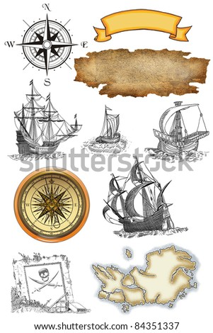 Pirate map set