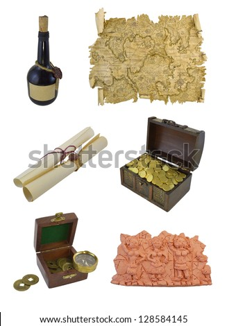 Pirate objects isolated - stock photo